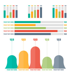 Infographics elements color bar charts vector