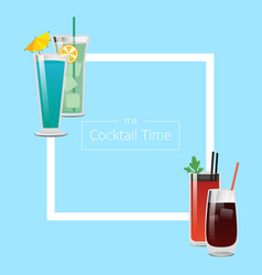 Its cocktail time poster with square shape frame vector