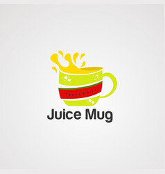 juice mug logo icon element and template vector image