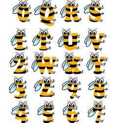 Latin alphabet funny bee abc vector