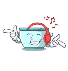 Listening music steel pot mascot cartoon vector