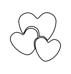 Monochrome contour with hearts in various sizes vector