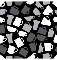mugs and cups black and gray seamless pattern vector image