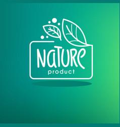 Nature product organic green leaves emblem vector