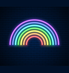 Neon rainbow sign lgbt pride month lesbian gay vector