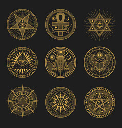 Occult signs occultism alchemy astrology symbols vector