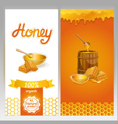 Organic honey advertising for vegan shop vector