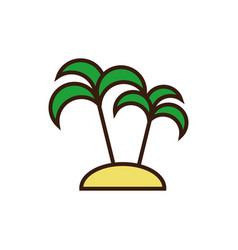 Palm tree summer season line and fill design vector