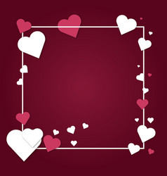 Paper hearts valentines day love art card vector