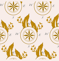 pattern design with compass and golden feathers vector image