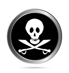 Piracy flag button vector image
