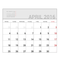 Planners for 2016 april vector