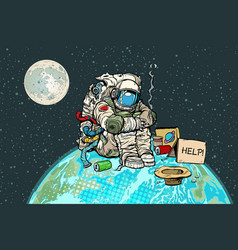 Poor hungry astronaut on planet earth vector