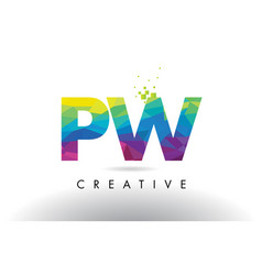 pw p w colorful letter origami triangles design vector image