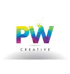 Pw p w colorful letter origami triangles design vector