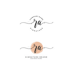 R a initial letter handwriting and signature logo vector