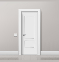 realistic modern white door in minimalist interior vector image