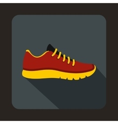 Red sneakers icon flat style vector