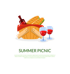 romantic summer picnic banner outdoor recreation vector image