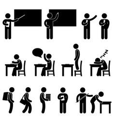 school teacher student class classroom symbol a vector image