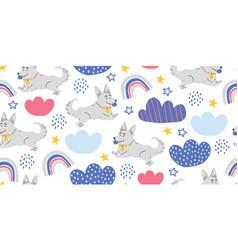 Seamless pattern with cute corgi dogs ball vector
