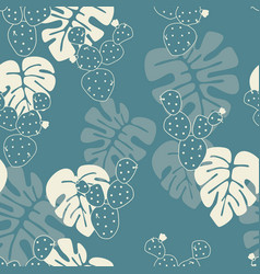 Seamless tropical pattern with monstera leaves vector