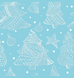 Seamless with white christmas fir trees and toys vector