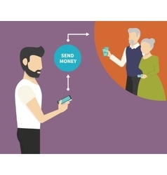 Sending money via mobile phone vector