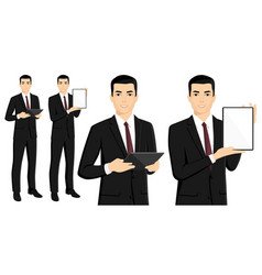 Set of asian businessman with tablet computer vector