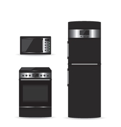 Set of black household appliances vector image