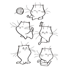 Set of cute tabby cat characters in vector