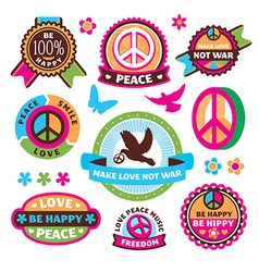 Set of peace symbols and labels vector