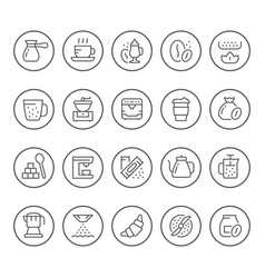 set round line icons of coffee vector image