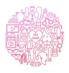 Sex shop line icon circle design vector