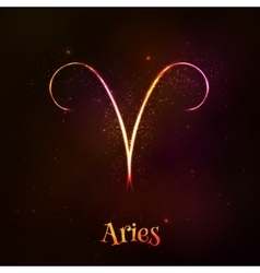 Shining neon zodiac Aries symbol vector