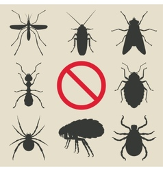 silhouette insects set vector image vector image