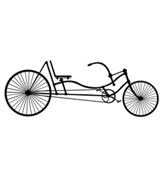 Silhouette longrider retro bicycle isolated on vector