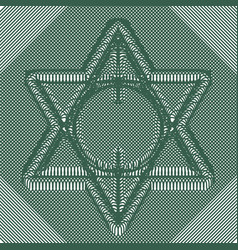 Six pointed star woven of fine lines vector
