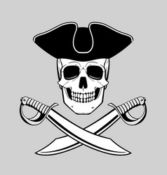 Skull in tricorn with crossed broadswords vector