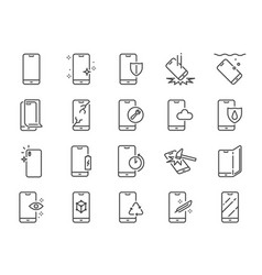 smartphone protection line icon set vector image
