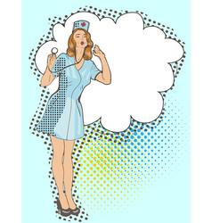 Smiling sexy nurse pop art vector
