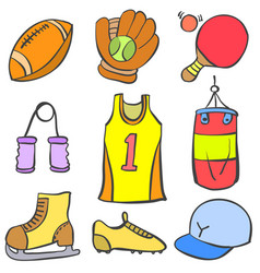 sport equipment object of doodle collection vector image
