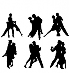 tango dancers silhouettes vector image