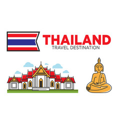 Thailand tourism travel and thai culture symbols vector
