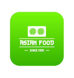 Traditional asian food icon green vector