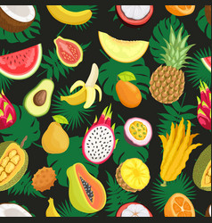 Tropical exotic fruits green leaf seamless pattern vector