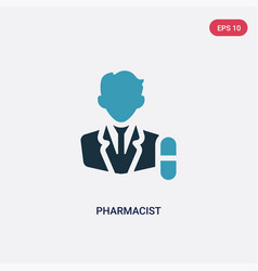 Two color pharmacist icon from professions vector