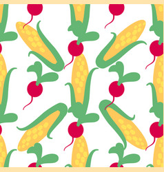 Vegetable seamless pattern with radish and corn vector