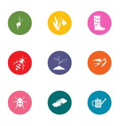 Verdant garden icons set flat style vector