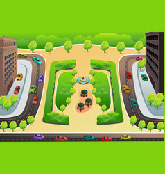View a highway and a park from above vector